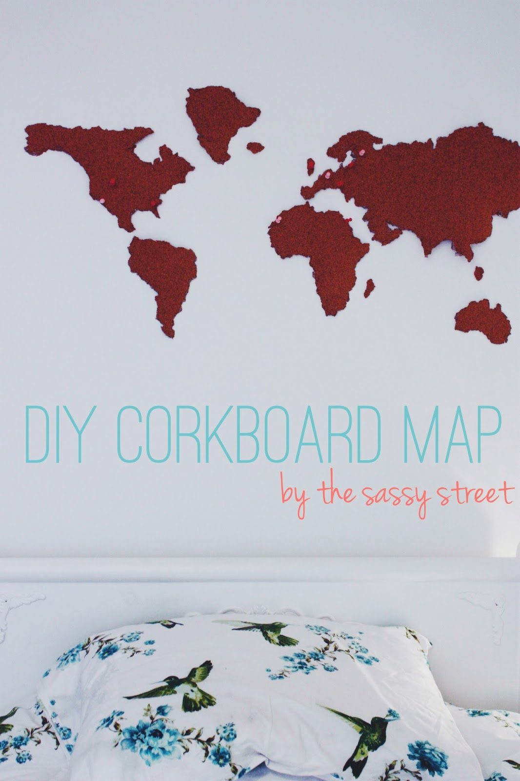 Make your own cork board map the sassy street i saw this cork board map on pinterest from anthropologie for 54 but i decided to make my own gumiabroncs Choice Image