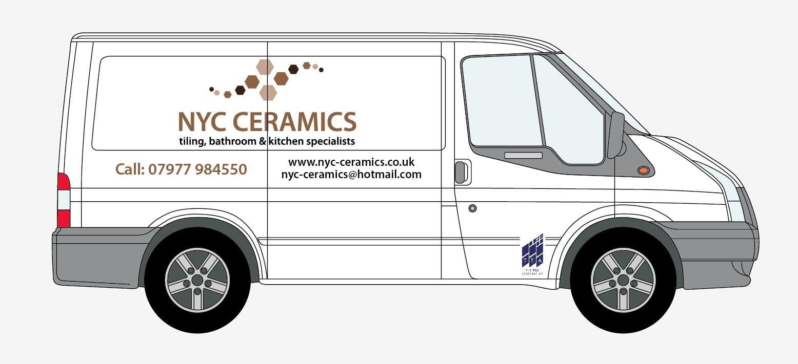 Nyc ceramics sign writing for nyc ceramics new van for Van sign writing templates