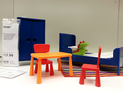 Set of IKEA dolls' bedroom furniture.