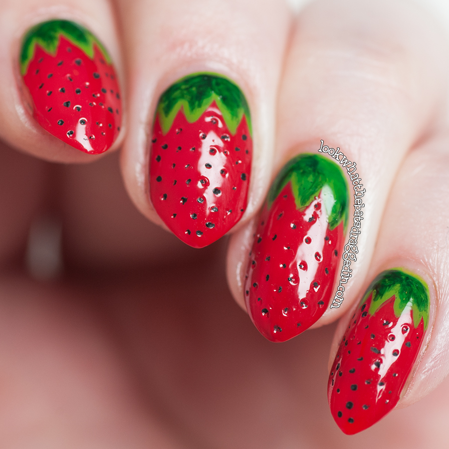 Strawberry fruit nail art using Illamasqua nail polishes in Throb, Ruthless, Smash, Elope and Rampage, inspired by AlpsNailArt
