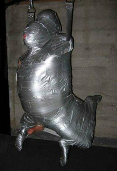 duct tape sexy model mummification