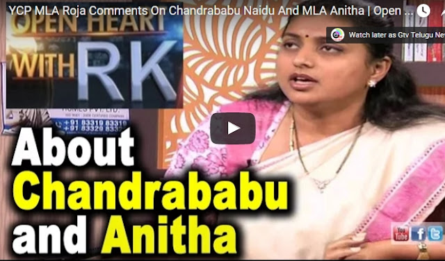 YCP MLA Roja Comments On Chandrababu Naidu And MLA Anitha