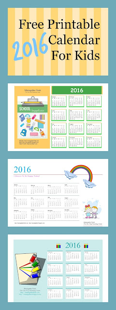 Free Printable 2016 Calendar For Kids