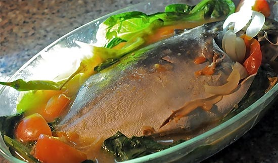 Lightly Souped Pomfret (Pinangat Na Pampano)  With Tomatoes And Onions