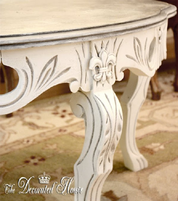 The Decorated House Silver Leaf Top on White Coffee Table