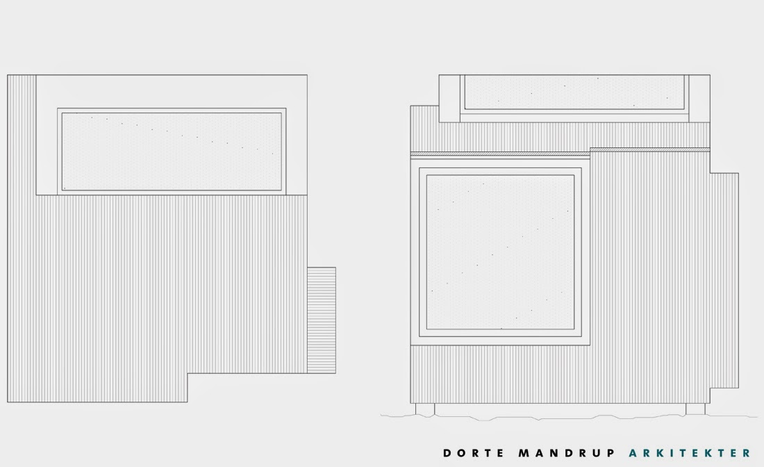 Dos planos de la cabina, uno del techo y otro de la fachada con la ventana