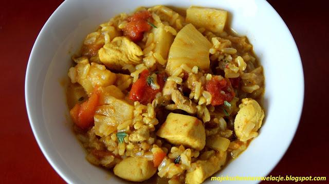 kurczak z ananasem i ryżem