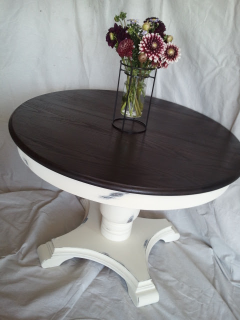 This That And Life Creamy White Round Pedestal Table With Stained Top