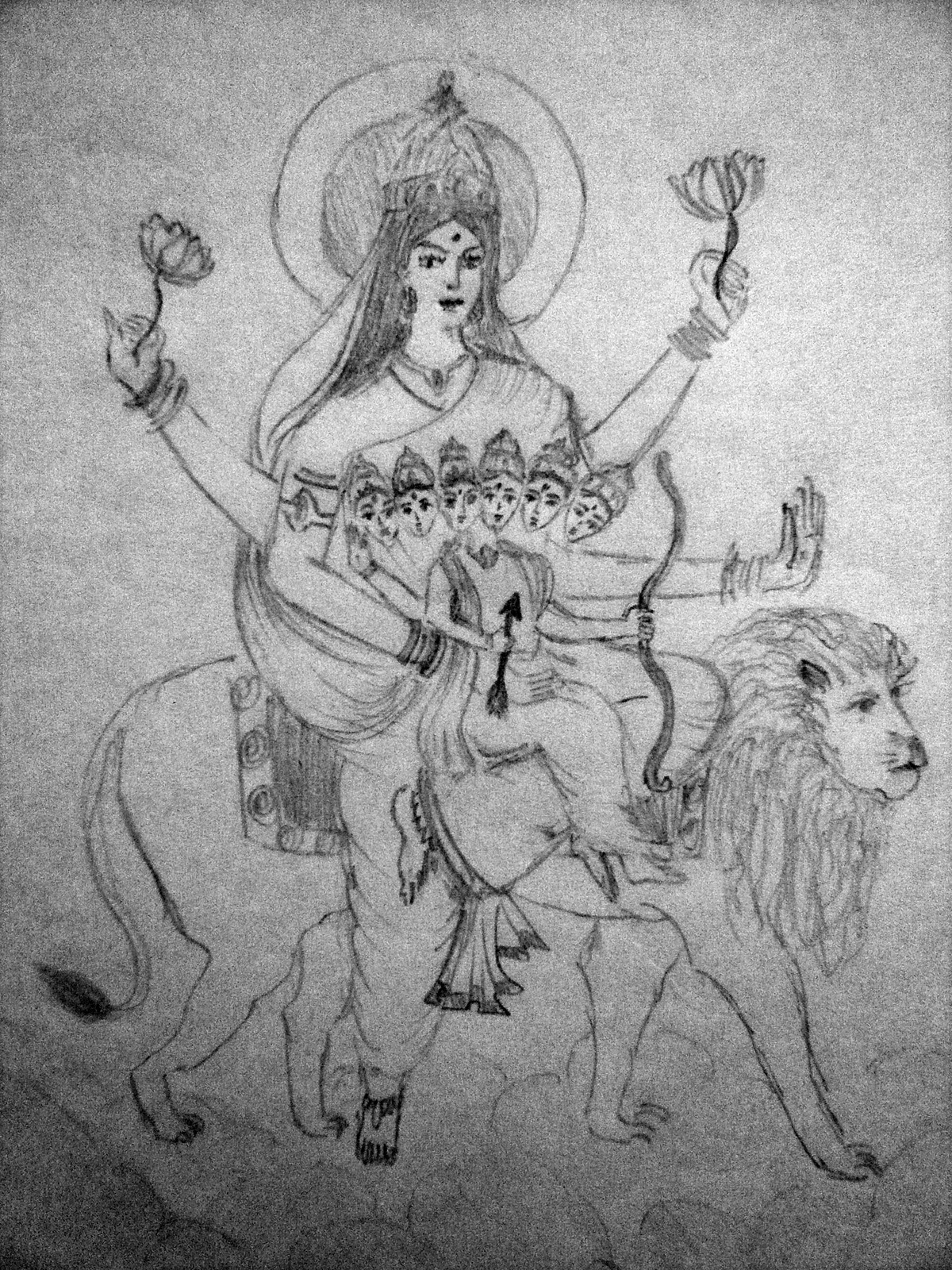 goddess durga sketch