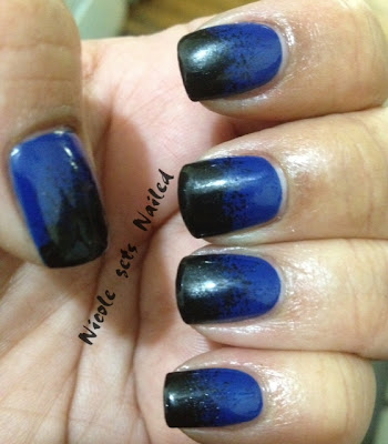 Black Blue Gradient Nails