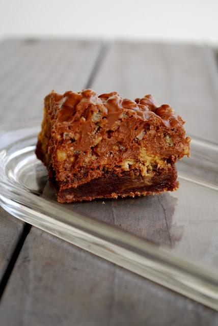 Triple Layer Peanut Butter Crunch Brownies