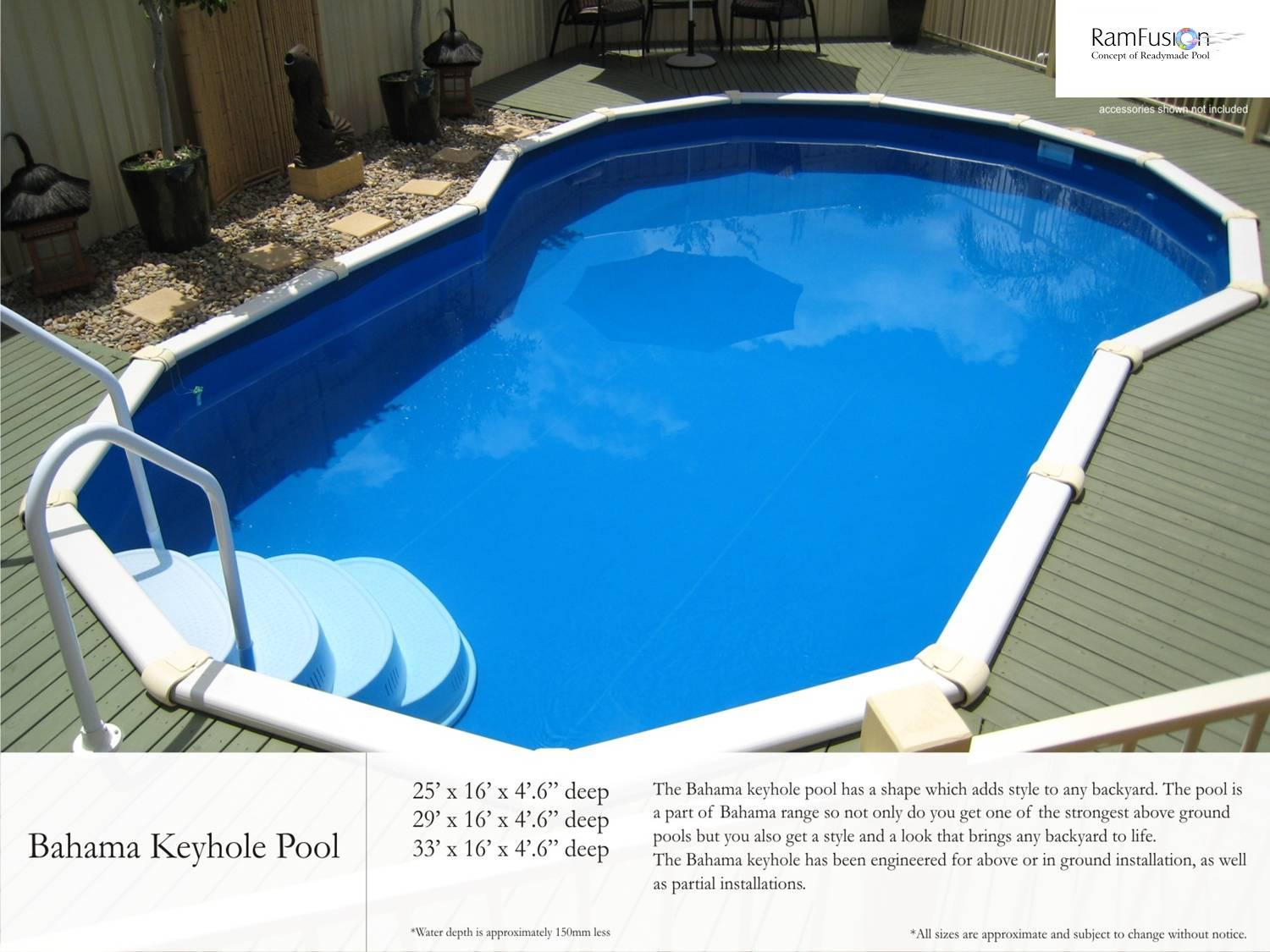 Readymade swimming pools: Pool Sizes