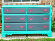 Bright Teal Smokey Grey Dresser