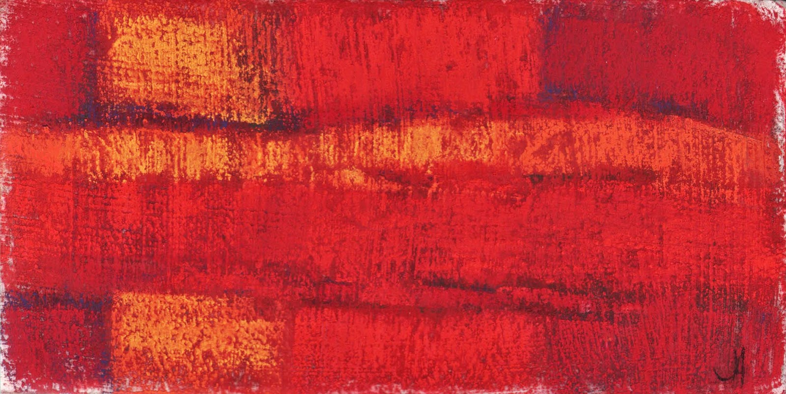 red fields original abstract pastel drawing painting artist janine aykens