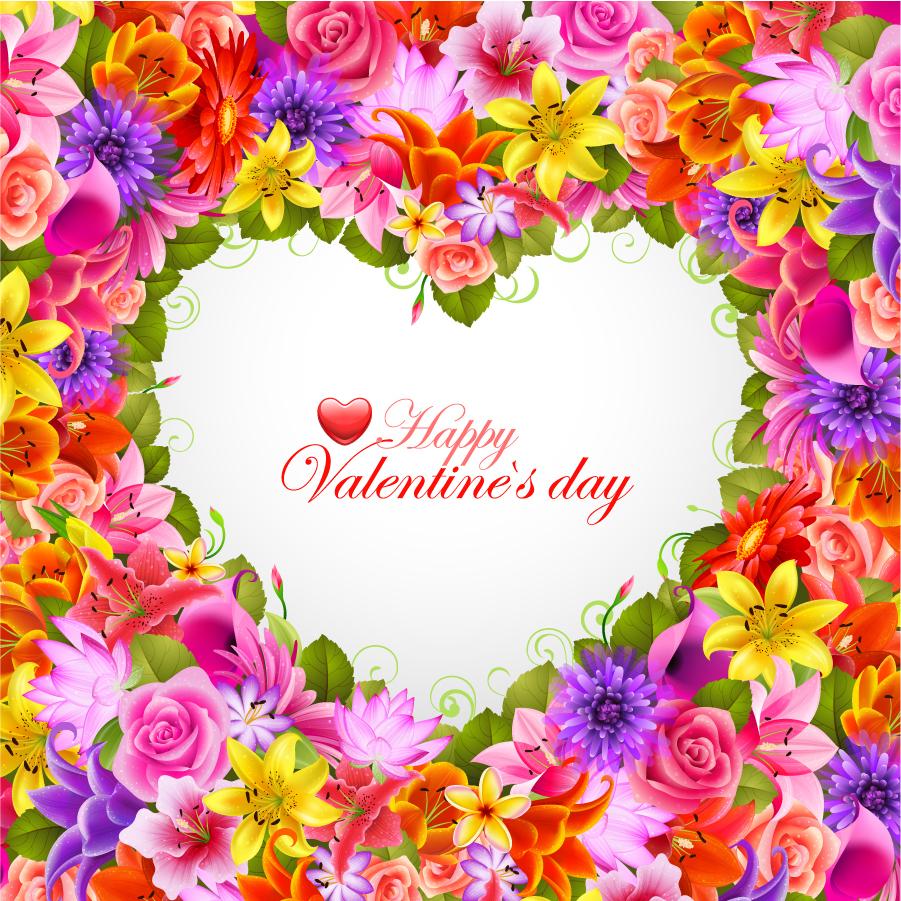美しい花弁でハート型に囲んだ背景 valentine's day flowers background イラスト素材