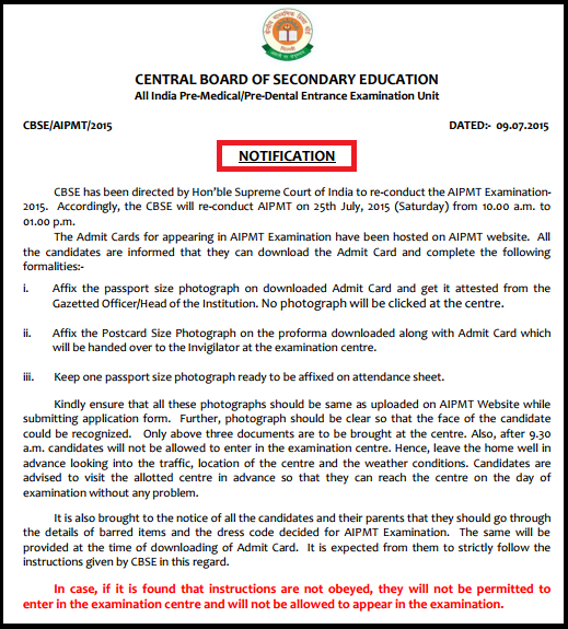 Download CBSE AIPMT 25th July 2015 Written Examination Admit Card & Instructions Booklet