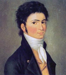 Pintura con el retrato del joven Ludwig van Beethoven