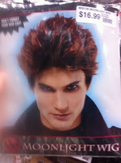 Picture of wig in the style of Edward from the Twilight movies, worn by someone who looks like Robert Pattinson, labeled Moonlight Wig
