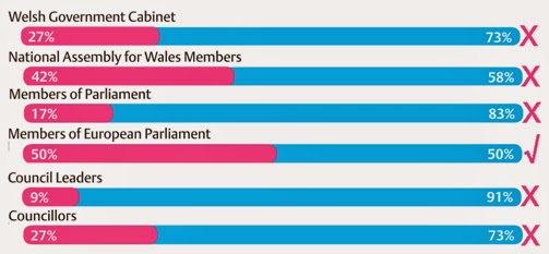 Female vs Male representation in Welsh politics 2014