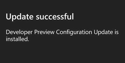 Developer Preview Configuration Update