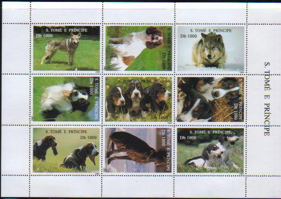 1995年サントメ・プリンシペ民主共和国 サルーキ バセット・ハウンド イングリッシュ・スプリンガー・スパニエル ビーグル ボーダー・コリー ジャック・ラッセル・テリア セント・バーナード バーニーズ・マウンテン・ドッグ その他 犬種不明などの切手シート