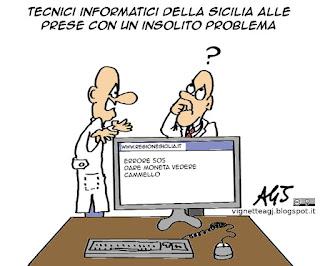 Regione Sicilia, blackout, informatica, debiti, vignetta satira