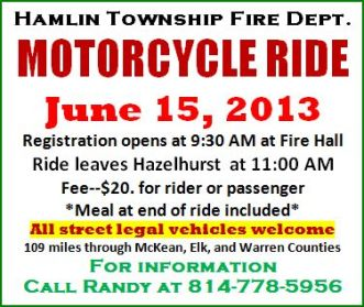 6-15 Hamlin Twp. Fire Dept. Motorcycle Ride