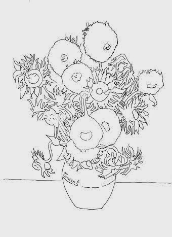 Van Gogh's Sunflowers line drawing for decorating