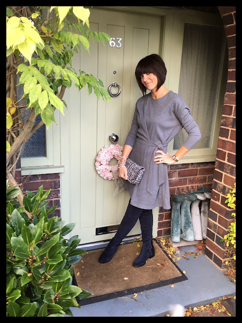 My Midlife Fashion, Marks and Spencer Limited Edition Drape Sweater Dress, Clarks Over The Knee Boots Caddy Belle