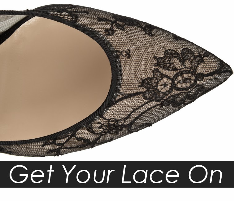 Get your lace on, single sole lace pumps, Oscar de la Renta Bridget black lace mesh pump