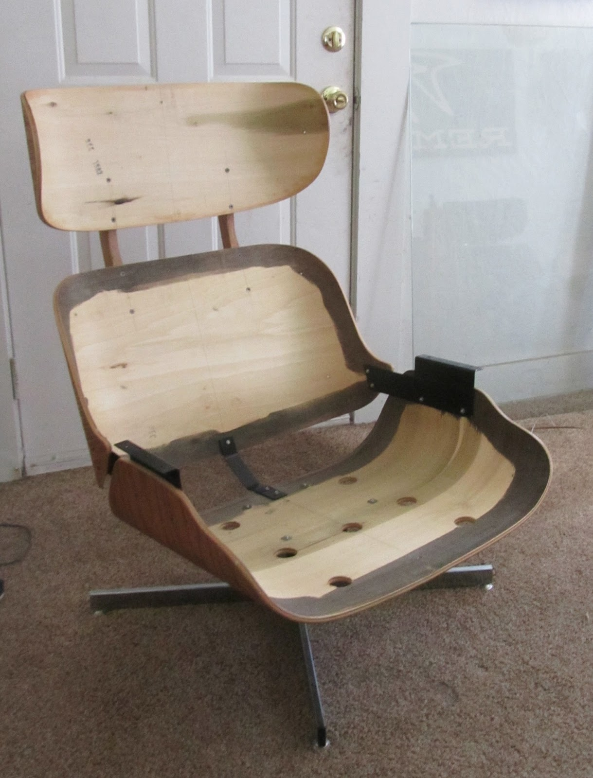remnant reupholstered eames style lounge chair ottoman