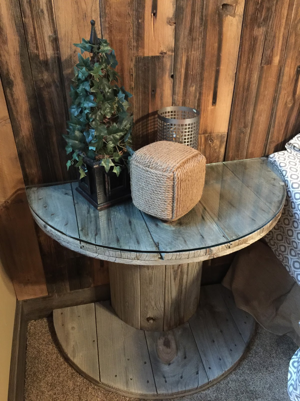 Wooden Electrical Spool Table Turned Into A Bedside Nightstand A Vision To Remember All Things Handmade Blog Wooden Electrical Spool Table Turned Into A Bedside Nightstand