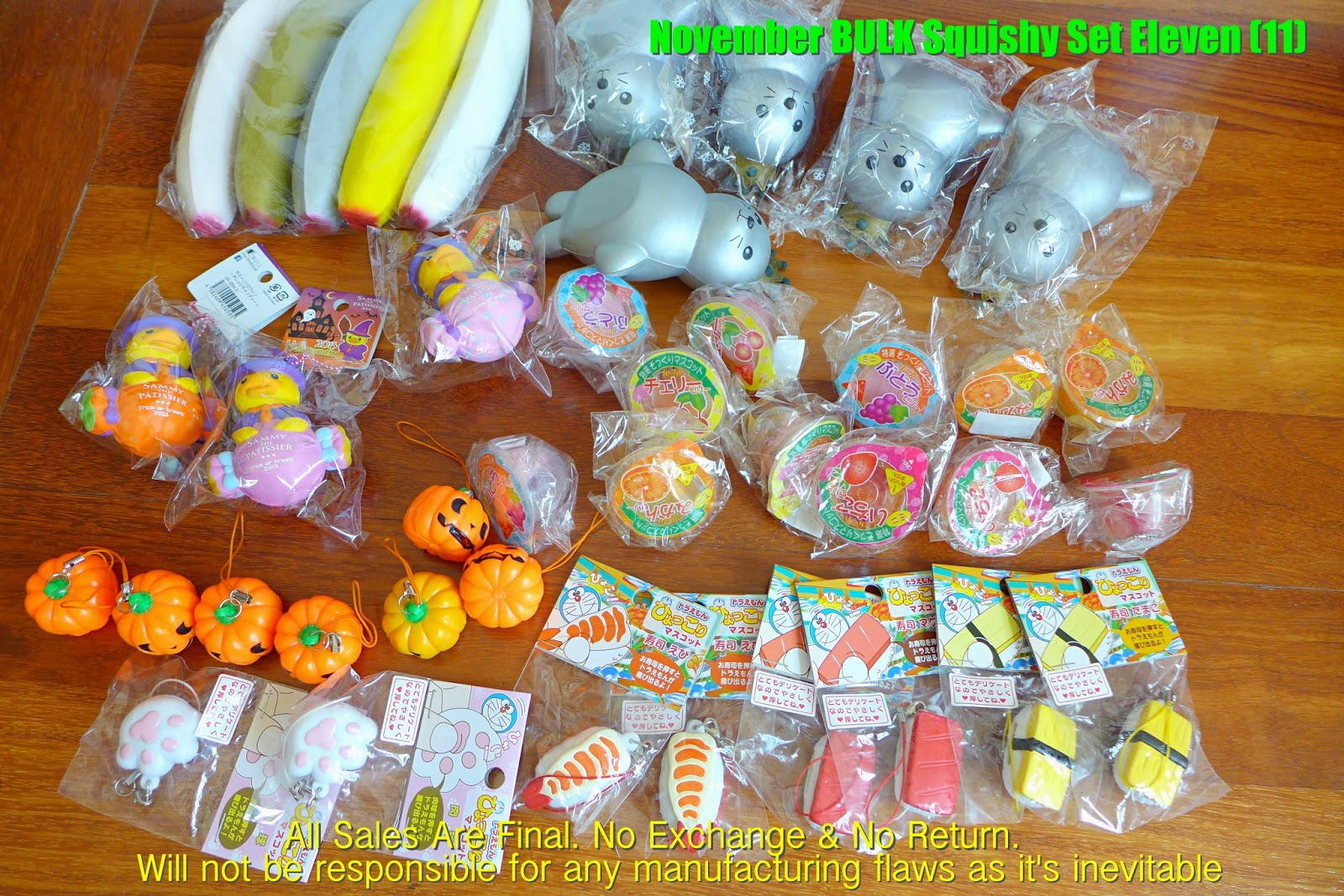 Squishy Toys At Toys R Us : Sue s Cutie Closet : Squishy Update: Squishy Set & BULK Set (Ibloom, Doraemon Squeeze Toy, Jelly ...