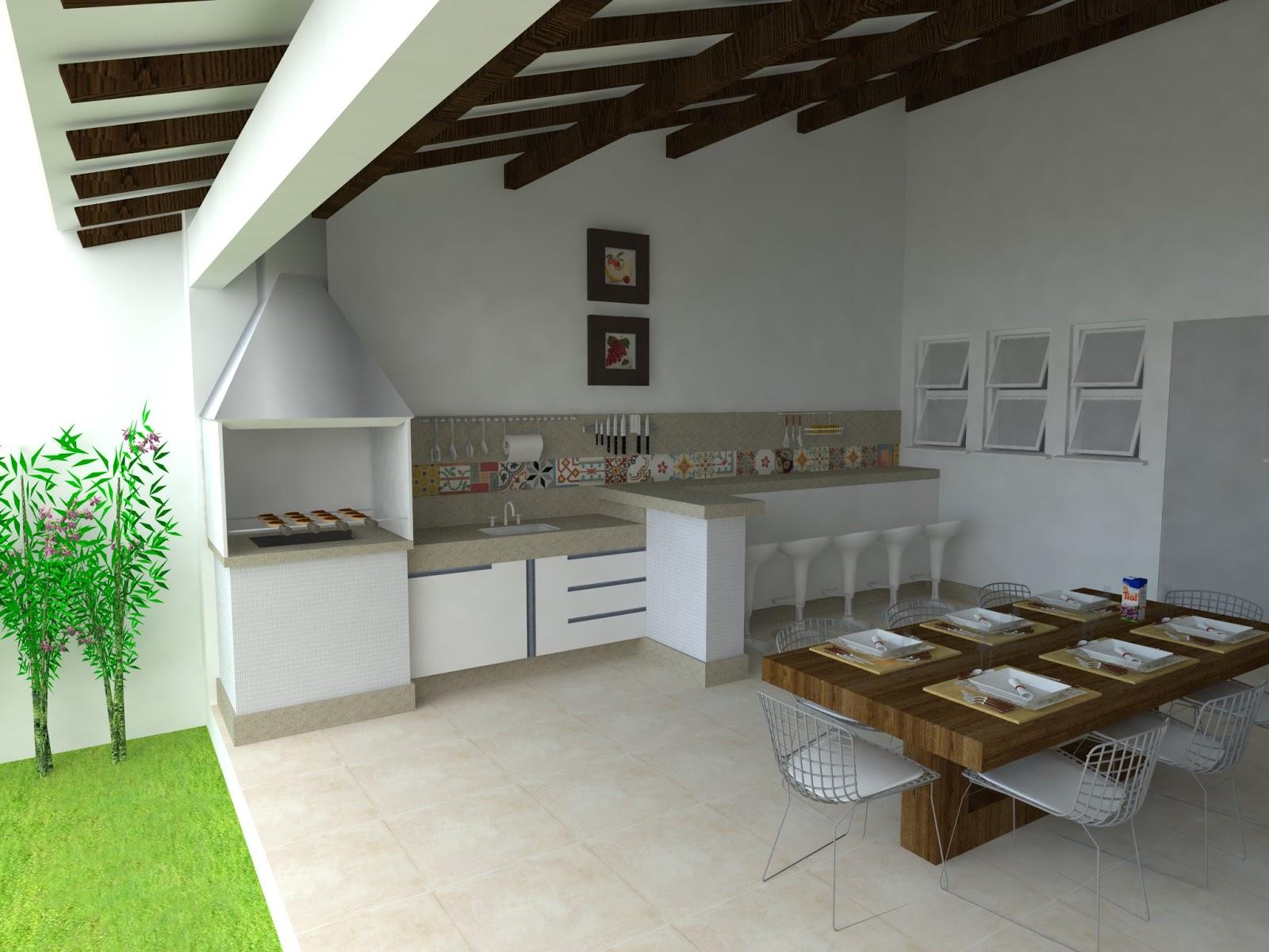Decoração Paisagismo: Projeto de Interior  Cozinha e área de Lazer #719A31 1600 1200