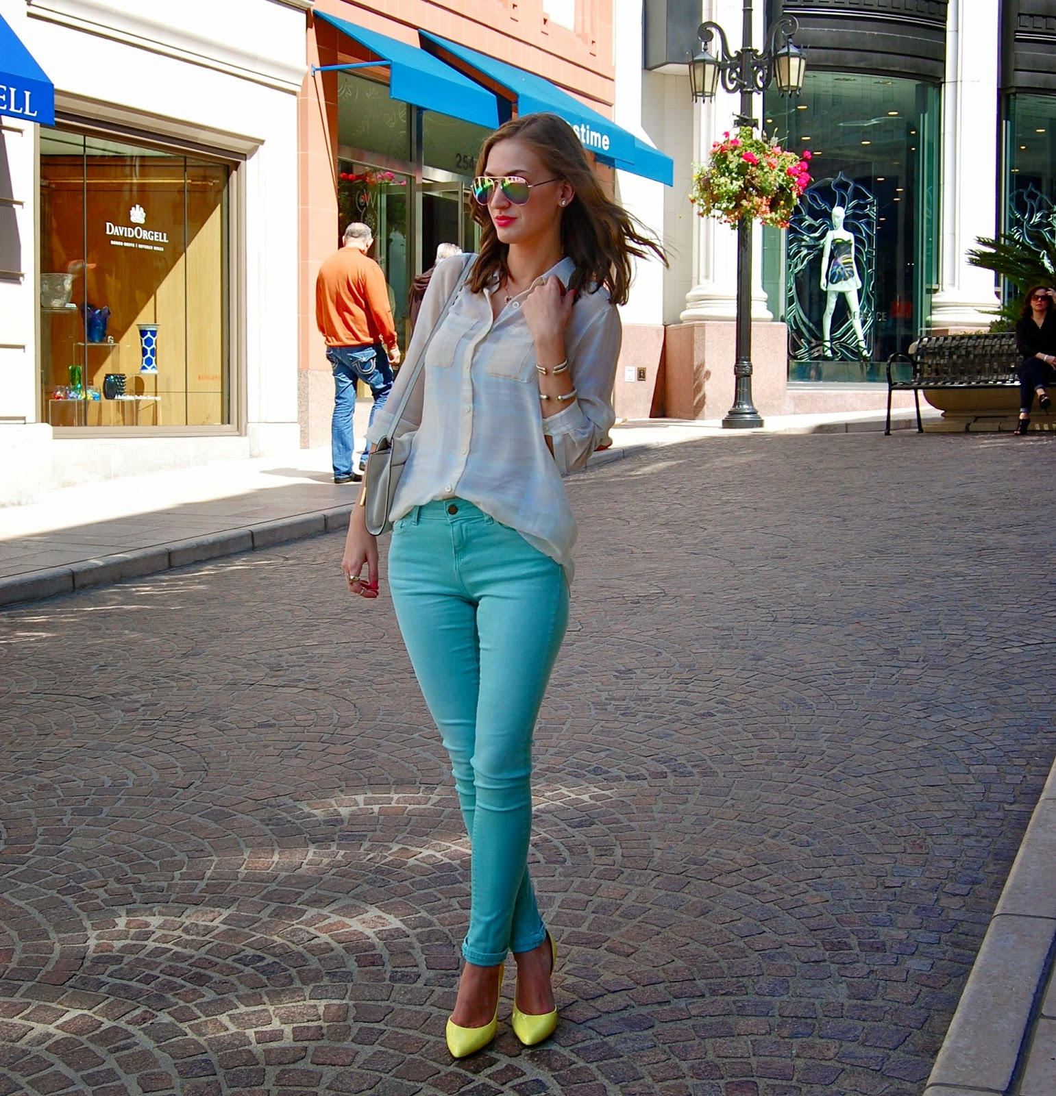 Yellow Heels, Zara Skinny Jeans