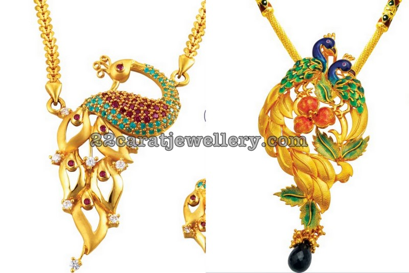 Peacock gold pendants meenakari jewellery designs peacock gold pendants meenakari aloadofball Images