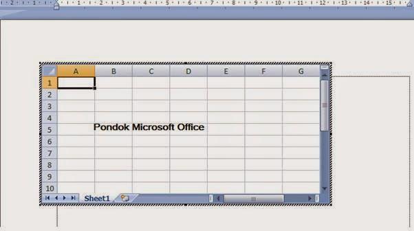 Tampilan Lembar Kerja Excel di Word