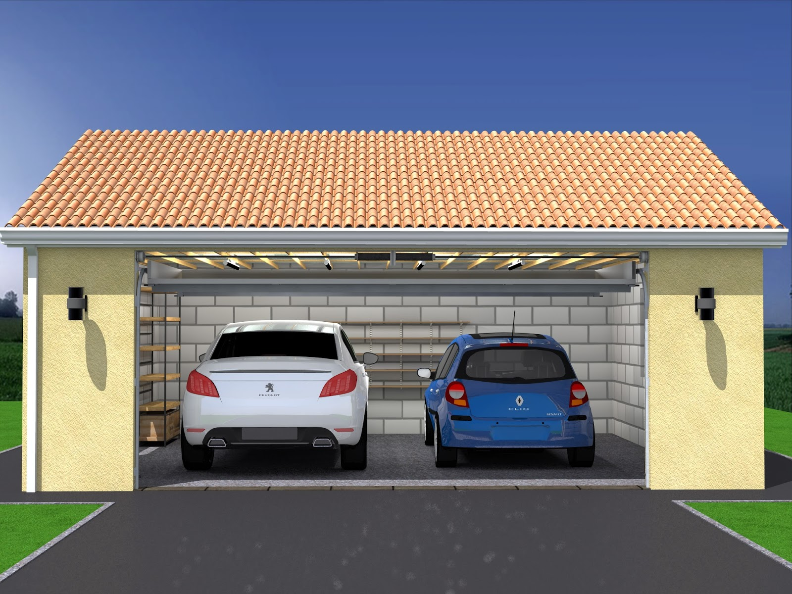 Plan de maison avec garage double for Construction garage parpaing plan