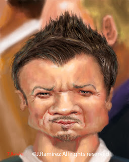 Jeremy Renner humor caricature