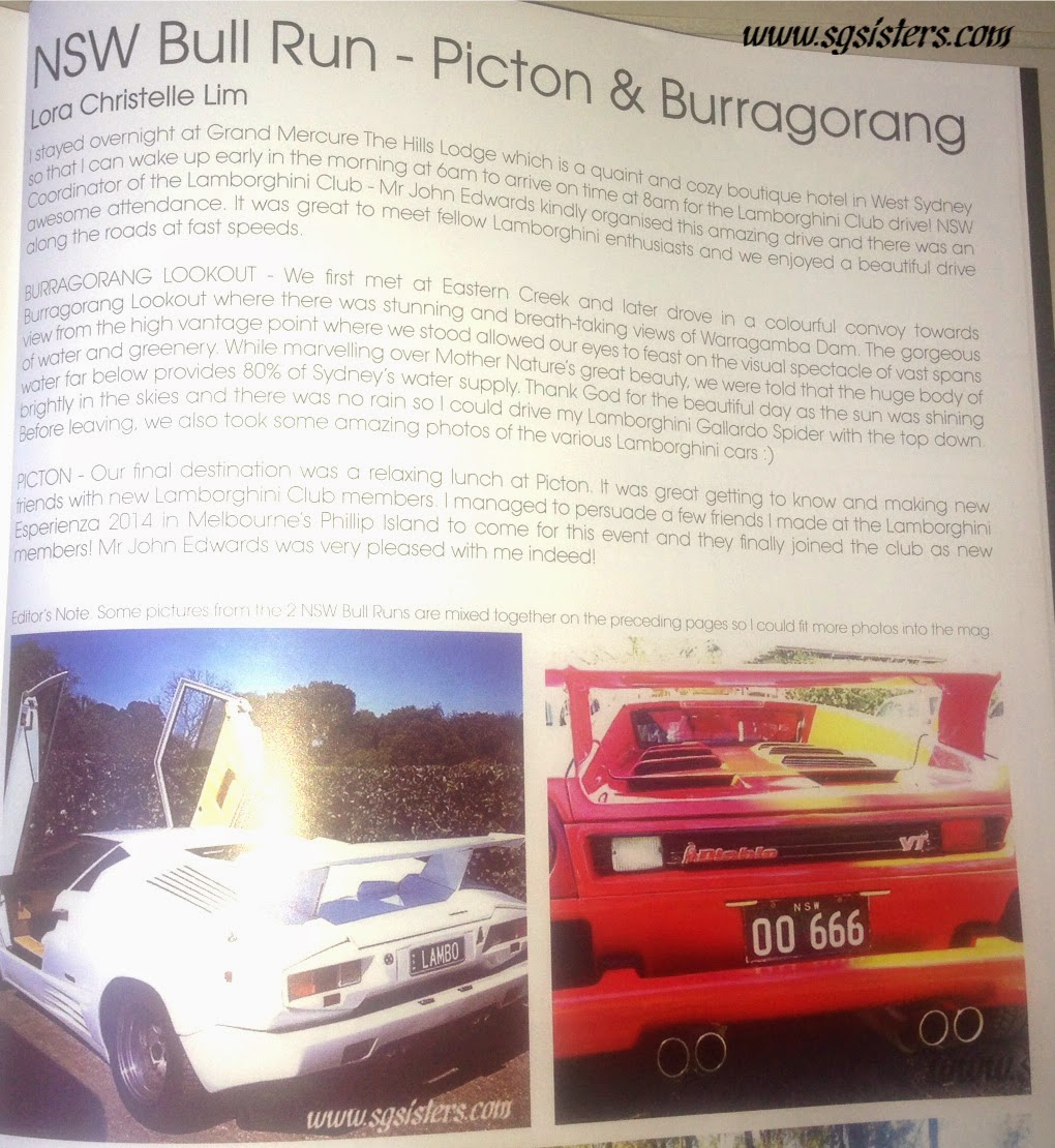 Lora christelle lim s write up is featured in the bull s roar magazine lamborghini club of australia
