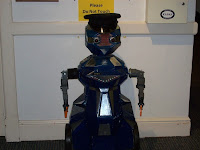 A robotic police officer with cap