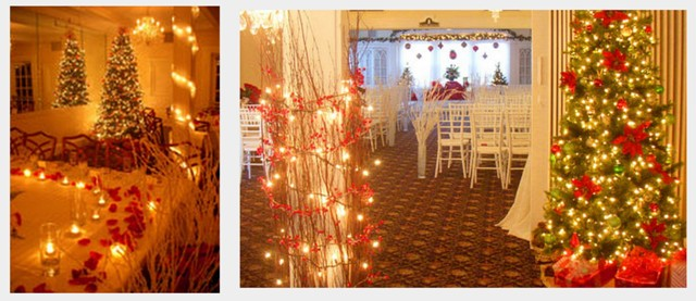 for your christmas themed wedding reception consider using ivy mistletoe and garlands instead of a lot of fresh flowers because of the weather during this