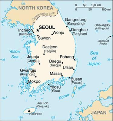 Corea del Sur mapa de sus ciudades