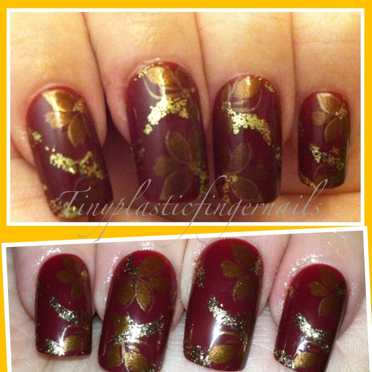 Burgundy and gold nail designs prinsesfo Choice Image