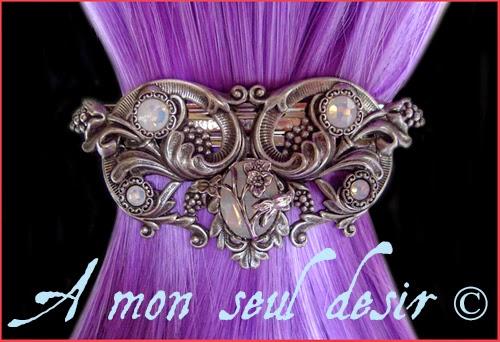 Barrette Pince Cheveux elfique féerique florale opale fairy elven hair slide white opal