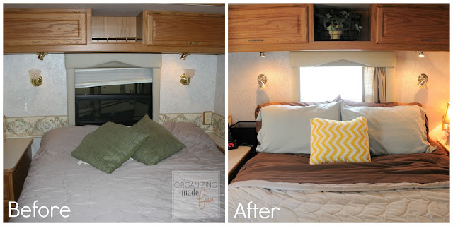 Before and After RV master bedroom with updated fixtures and handles in satin nickel and oil rubbed bronze :: OrganizingMadeFun.com
