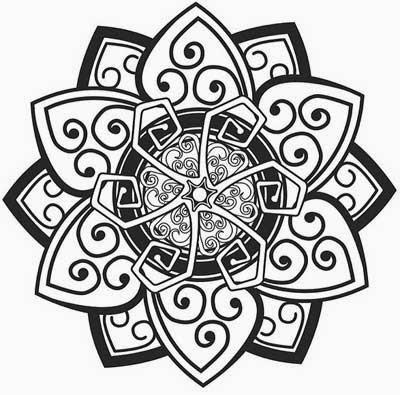 Tribal flower tattoo stencil