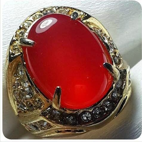 Batu Natural Red Carnelian Top Crystyal (Akik Darah)