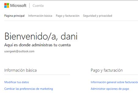 Inicio sesion en nueva cuenta Microsoft