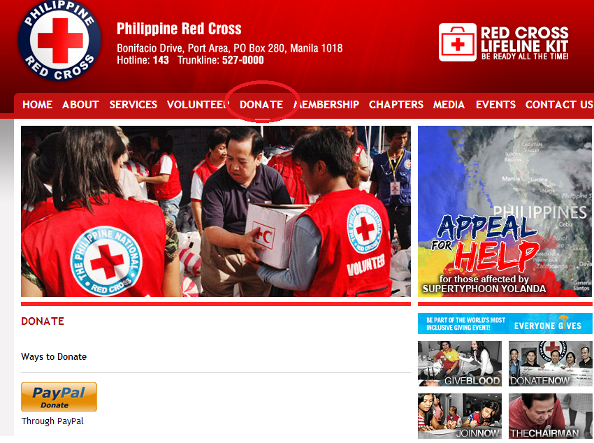 Click on the Link to Donate to Philippine Red Cross
